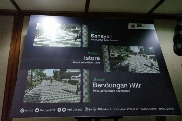 Banner konsep penataan trotoar Jalan Sudirman dan Jalan M.H Thamrin di Balai Kota DKI Jakarta, Selasa (6/2/2018).