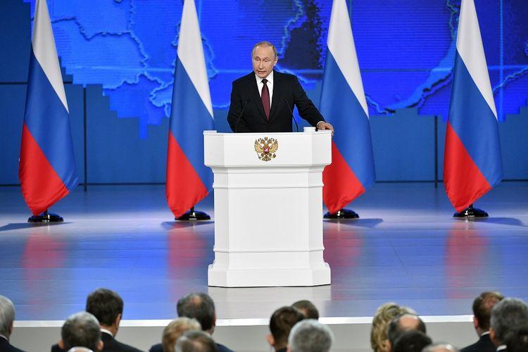 Presiden Rusia Vladimir Putin ketika memberikan pidato tahunan di Moskwa pada 20 Februari 2019.