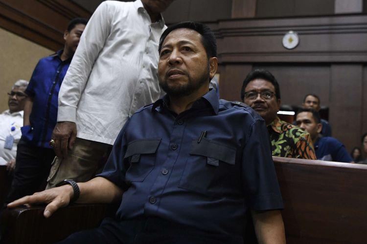 Penampilan terpidana kasus e-KTP Setya Novanto saat bersaksi dalam sidang lanjutan kasus dugaan suap proyek PLTU Riau-1, dengan terdakwa mantan Dirut PLN Sofyan