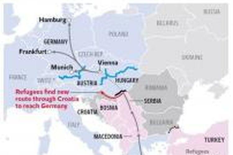 peta jalur pengungsi yang akan menuju Jerman dan Austria.
