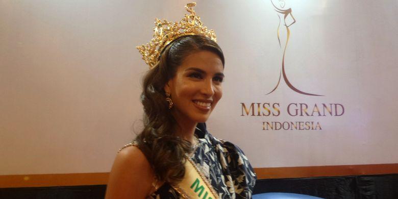 Miss Grand International 2017 Maria Jose Lora pada acara penandatanganan MoU Miss Grand Internarional Organization dan Miss Grand Indonesia di Kementerian Pariwisata, Jakarta Pusat, Senin (29/1/2018).