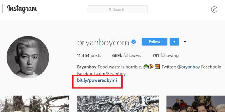 Penampakan Instagram BryanBoy