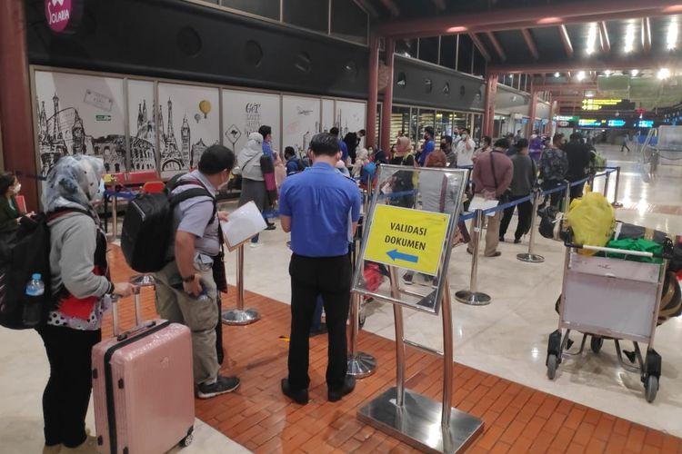 Suasana pengoperasian kembali Lion Air di Bandara Soekarno Hatta, Tangerang, Banten