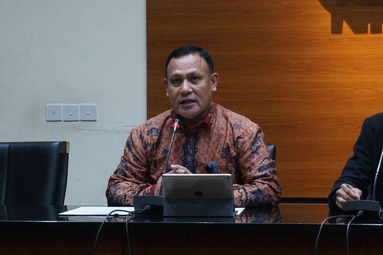 Ketua KPK Firli Bahuri dalam konferensi pers di Gedung Merah Putih KPK, Jumat (27/12/2019).