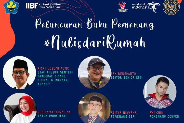 Peluncuran Buku Pemenang Nulis dari Rumah, Senin 5 Oktober 2020 yang dilaksanakan secara daring oleh Ikapi dan Kemenparkraf.