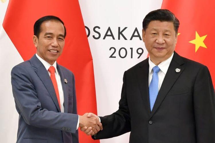Presiden Jokowi saat melakukan pertemuan bilateral dengan Presiden China Xi Jinping di sela acara KTT G20 pada Jumat (28/6/2019) malam.