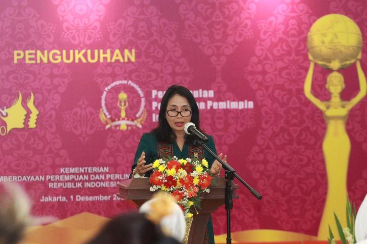 Menteri PPPA Bintang Puspayoga saat memberikan sambutan di acara Anugerah Perempuan Indonesia (API) ke-7 Tahun 2020.