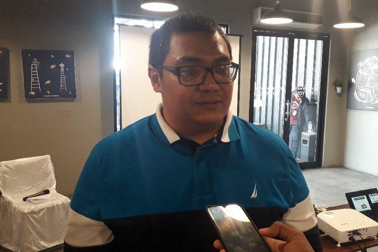 Direktur Eksekutif Median Rico Marbun memaparkan hasil survei nasional Persepsi Publik Atas Rencana Pemindahan Ibu Kota di kawasan Cikini, Jakarta Pusat, Selasa (3/9/2019).