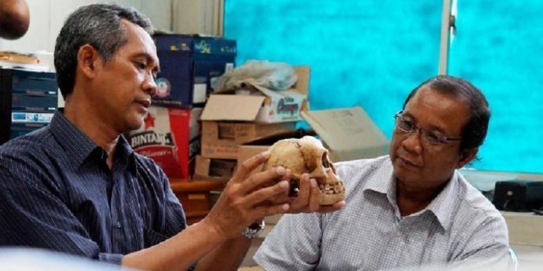 Arkeolog dari Pusat Arkeologi Nasional, E Wahyu Saptomo (kiri) dan Jatmiko (kanan), mengamati replika tengkorak Homo floresiensis atau manusia Liang Bua, Selasa (16/12/2014), di Kantor Pusat Arkeologi Nasional, Jalan Raya Condet, Pejaten, Jakarta. Selain Wahyu dan Jatmiko, dua arkeolog lain, yaitu Rokus Awe Due dan Thomas Sutikna, turut menemukan kerangka manusia kerdil asal Flores, NTT, ini. Akhir tahun lalu, keempat ilmuwan tersebut masuk dalam daftar ilmuwan paling berpengaruh 2014 menurut Thomson Reuters.