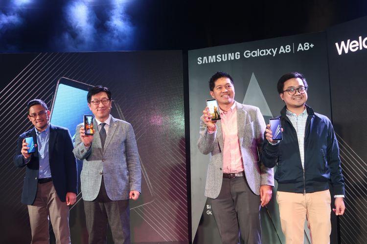 Samsung resmi meluncurkan Galaxy A8 dan Galaxy A8+ yang merupakan ponsel kamera selfie ganda pertama dari Samsung, pada Rabu (17/1/2018) di Jakarta.