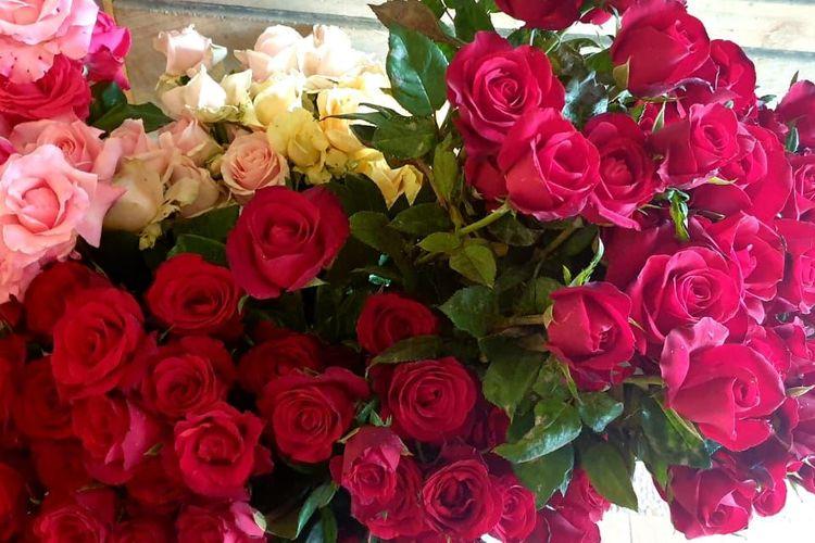 Sebagian bunga mawar asal Desa Bulukerto, Kecamatan Bumiaji, Kota Batu, yang masih dapat dijual. (Foto: VOA/Petrus)