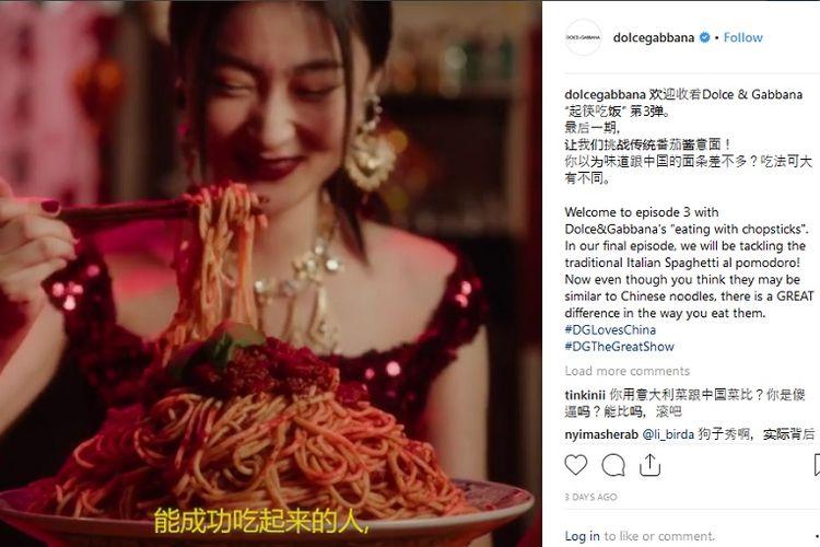 Potongan gambar dari iklan promosi rumah mode Dolce & Gabbana untuk acara peragaan busana di China. (Instagram/dolcegabbana)