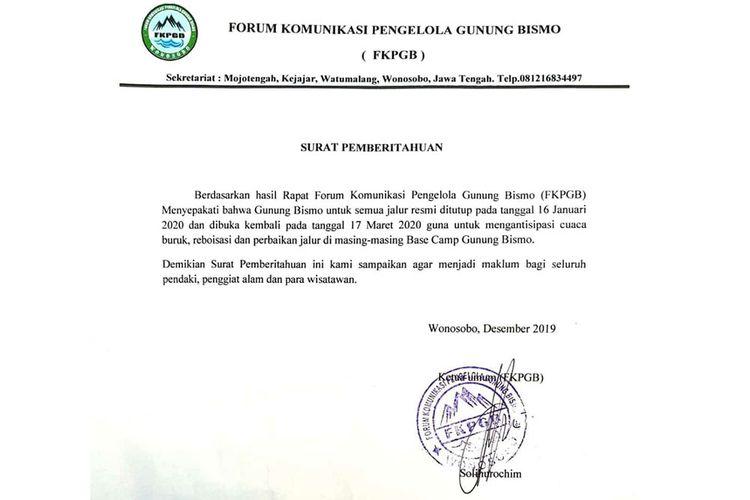 Surat pemberitahuan penutupan jalur pendakian Gunung Bismo