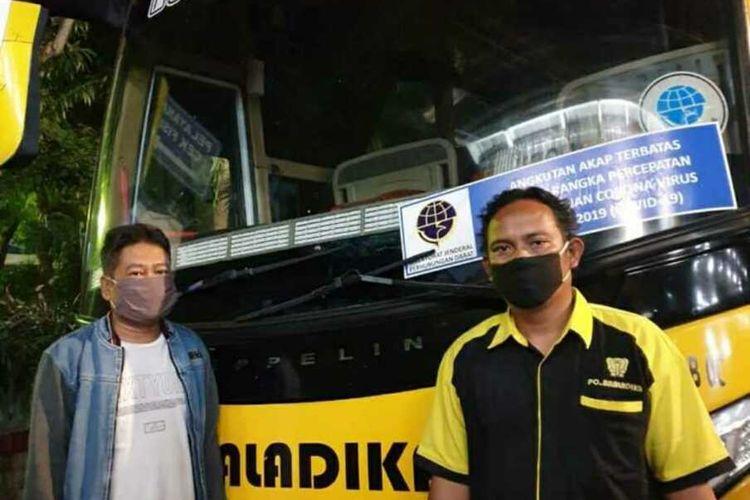 bus berstiker Kemenhub yang diamankan polisi, Rabu (20/5/2020)