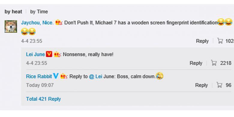 CEO Xiaomi Lei Jun menanggapi seorang pengguna forum Weibo dengan membenarkan bahwa Xiaomi Mi 7 memang akan dilengkapi dengan under-display fingerprint scanner.