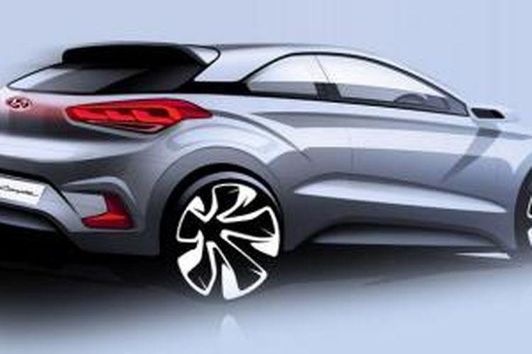 Tampang agresif Hyundai i20 Coupe masih ditunjukkan dalam sketsa.