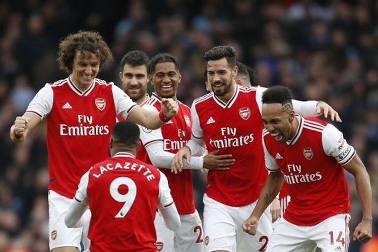 Alexandre Lacazette dalam laga Arsenal vs West Ham pada pekan ke-29 Liga Inggris