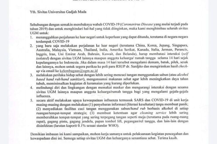 Surat edaran dari Rektor UGM bagi sivitas terkait kewaspadaan dini COVID-19.