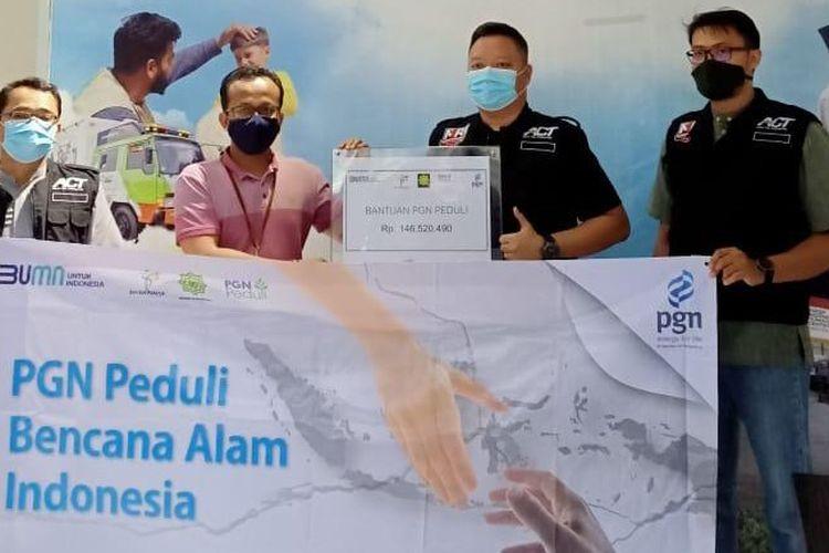 PGN bekerja sama dengan ACT untuk menyalukan bantuan kepada korban gempa bumi di Sulawesi Barat (Sulbar) dan korban banjir di Kalimantan Barat (Kalbar), Jumat (29/1/2021).
