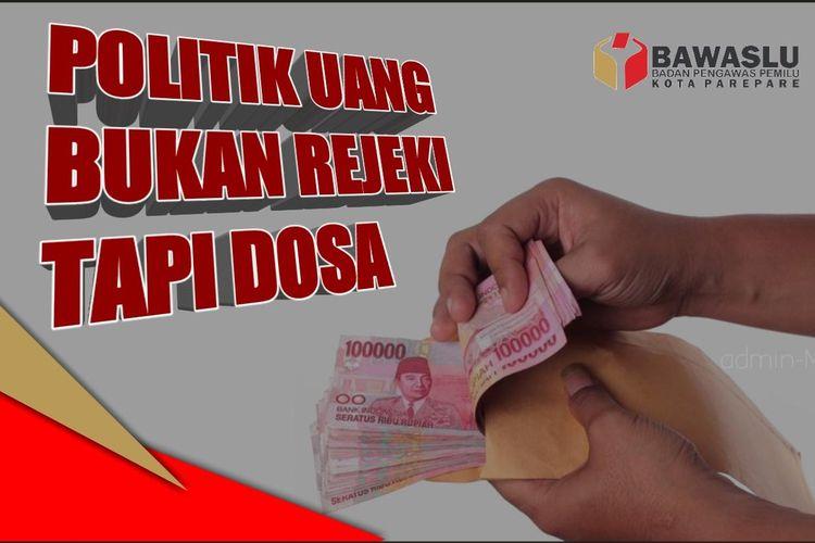Salah satu meme tolak politik uang yang disebar Bawaslu Sulsel jelang hari pencoblosan Pemilu 2019 yang jatuh pada 17 April mendatang.