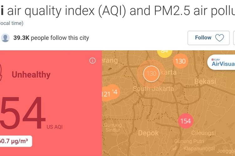 Bidik layar kualitas udara Bekasi menurut situs AirVisual, Jumat (16/8/2019) malam.