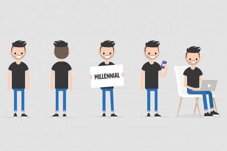 Ilustrasi generasi millenial