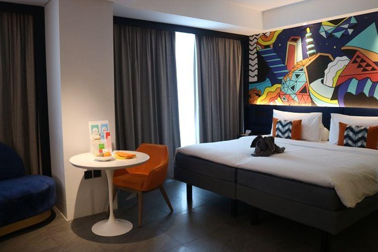 Salah satu kamar tipe Duluxe di Ibis Styles Jakarta Tanah Abang yang luasnya 33 m2.