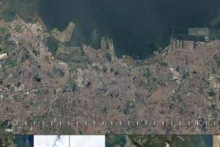 Foto satelit Jakarta dilihat dengan Google Earth.