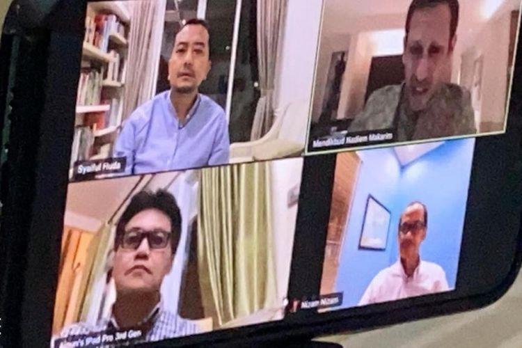 Ketua Komisi X DPR Syaiful Huda (kiri atas) melakukan telekonferensi dengan Mendikbud Nadiem Makarim (kanan atas), Senin (23/3/2020) malam.(Istimewa)