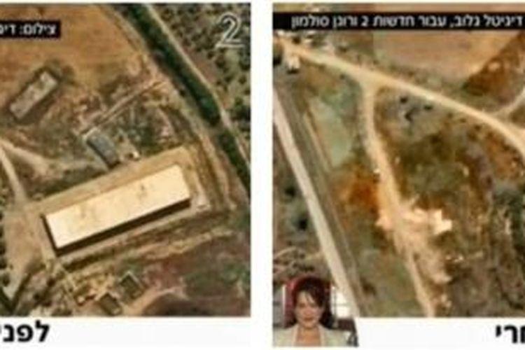 Media Israel merilis citra satelit hasil serangan udara Israel di kota Latakia, Suriah, menunjukkan sebuah gudang yang hancur akibat serangan tersebut.