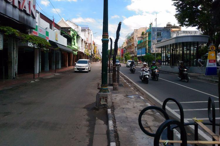 Kondisi Jalan Malioboro yang bebas pedagang kaki lima, Selasa (31/10/2017)