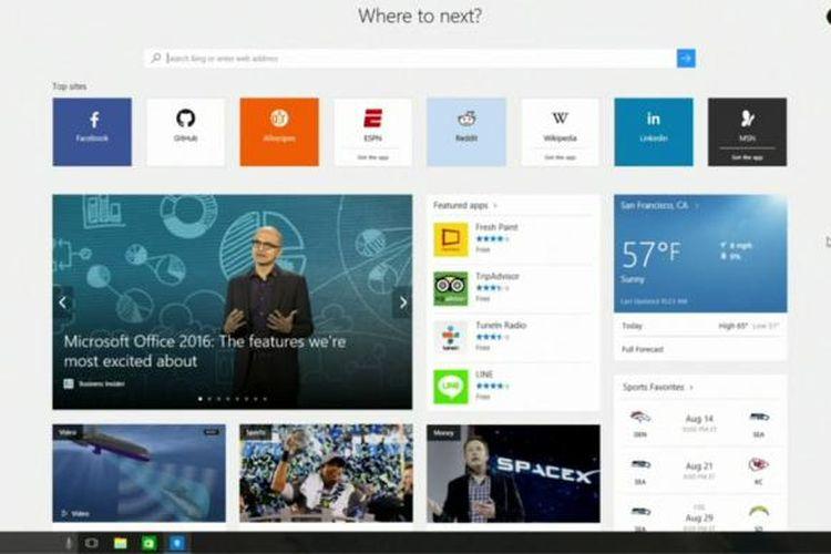 Tampilan browser Edge di Windows 10