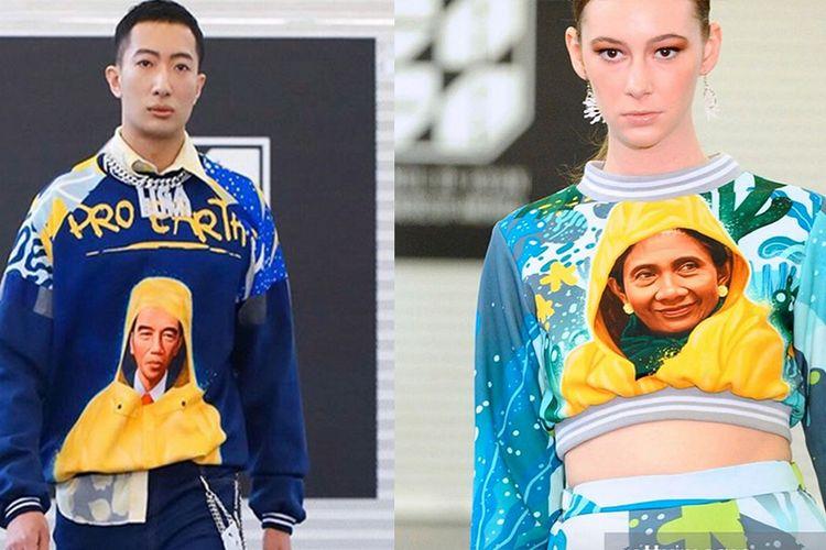 Wajah Presiden Jokowi dan Mantan Menteri Kelautan dan Perikanan Susi Pudjiastuti tampil di busana karya Maggie Hutauruk-Eddy di pagelaran New York Fashion Week 2020.