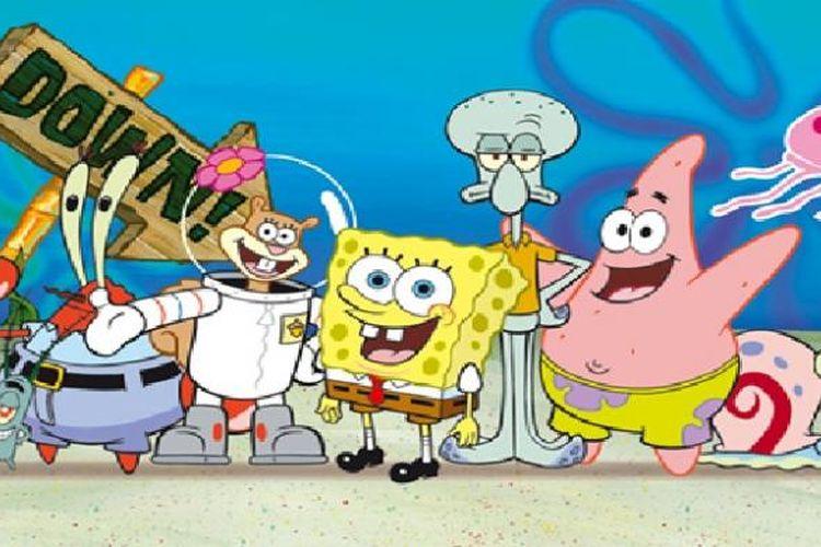 Para karakter dalam film kartun SpongeBob SquarePants (kiri ke kanan): Plankton, Tuan Crab, Sandy, SpongeBob, Squidward, Patrick, dan Garry.
