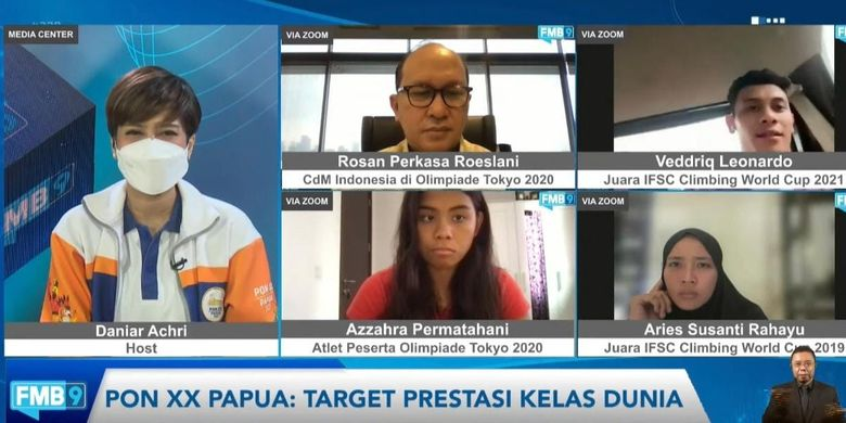 Tangkapan layar diskusi FMB9 secara daring pada Senin (23/8/2021) bertajuk PON XX Papua: Target Prestasi Kelas Dunia.