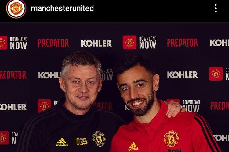 Bruno Fernandes bersama pelatih Manchester United, Ole Gunnar Solskjaer.
