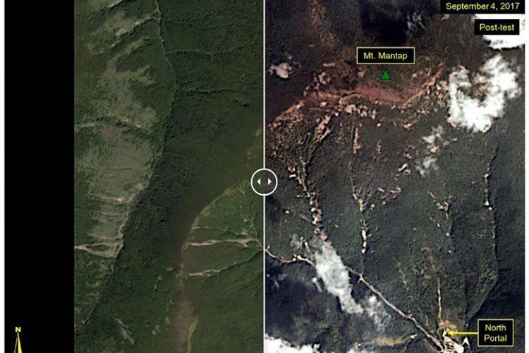 Gambar ini menunjukkan sebelum dan sesudah situs uji Punggye-ri, di mana pada 3 September 2017 dilakukan pengujian bom di bawah tanah. Gambar di sebelah kiri adalah sebelum dilakukan pengujian yang diperoleh pada 1 September 2017, sementara gambar setelah pengujian menunjukkan tanah longsor. (AFP/Planet/HO)