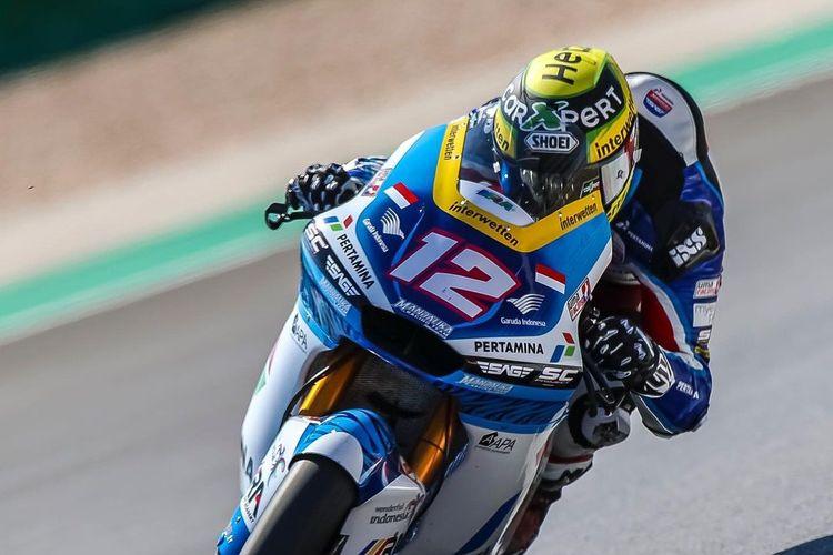 Thomas Luthi saat sesi latihan bebas pada MotoGP Portugal