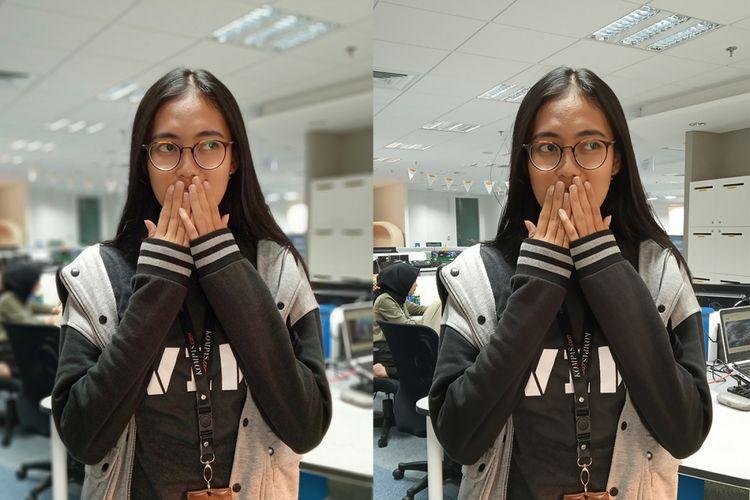 Karena memiliki kamera ganda, Redmi 6 pun bisa menyematkan mode portrait untuk menambah efek bokeh (foto kiri) pada hasil jepretannya.