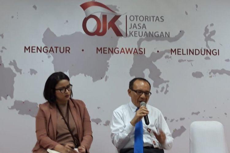 Juru Bicara OJK Sekar Putih Djarot dan Ketua Satgas Waspada Investasi Tongam L Tobing di Jakarta, Rsbu