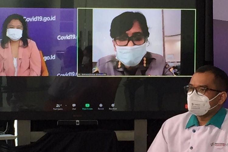 Talkshow bertema Bagaimana Tenaga Kesehatan Menjaga Diri dari Covid-19 di Media Center Satuan Tugas Penanganan Covid-19 Graha Badan Nasional Penanggulangan Bencana (BNPB), Jakarta, Rabu (7/10/2020).