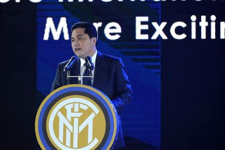Presiden Internazionale Milan, Erick Thohir, saat menghadiri sesi konferensi pers di Nanjing, China, pada 6 Juni 2016.