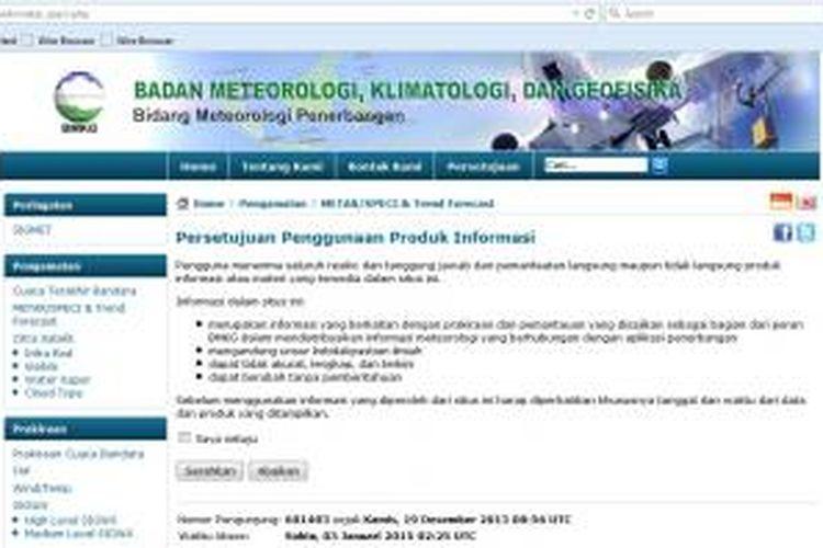 Halaman muka situs BMKG untuk laporan cuaca penerbangan. Gambar diunduh pada Sabtu (3/1/2014).
