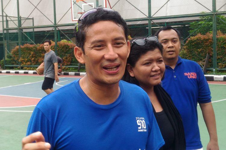 Calon wakil presiden nomor urut 02, Sandiaga Uno, saat di GOR Bulungan, Jakarta Selatan, Rabu (13/2/2019)