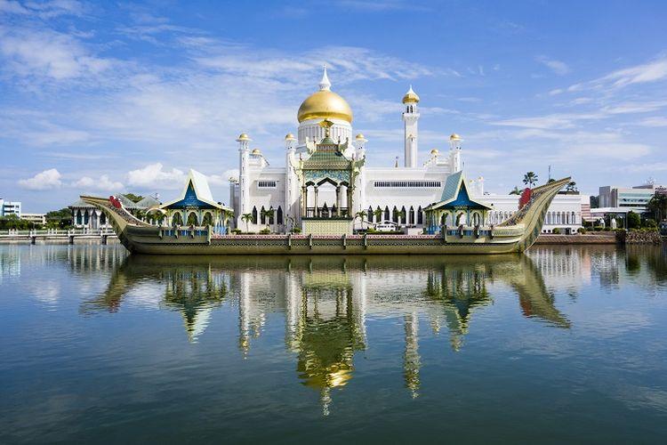 Ilustrasi Brunei Darussalam - Masjid Sultan Omar Ali Saifuddin.