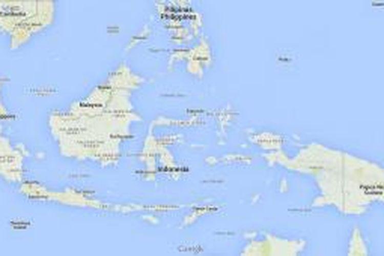 Peta Indonesia dan negara-negara di sekitarnya.
