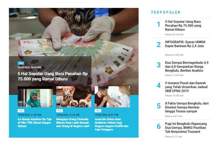 Berita populer Tren 20 Agustus 2020: uang baru pecahan Rp 75.000, seputar gempa Bengkulu, dan syarat mendapatkan BLT untuk UMKM Rp 2.4 juta.