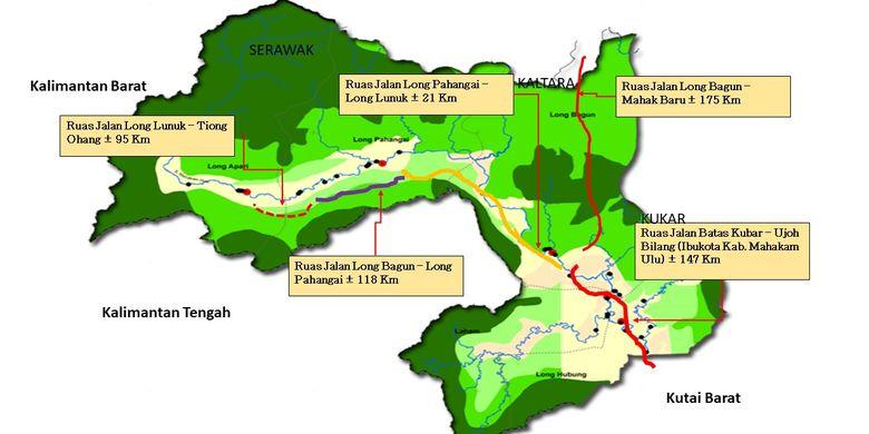Peta Kabupaten Mahakam Ulu, Kalimantan Tengah