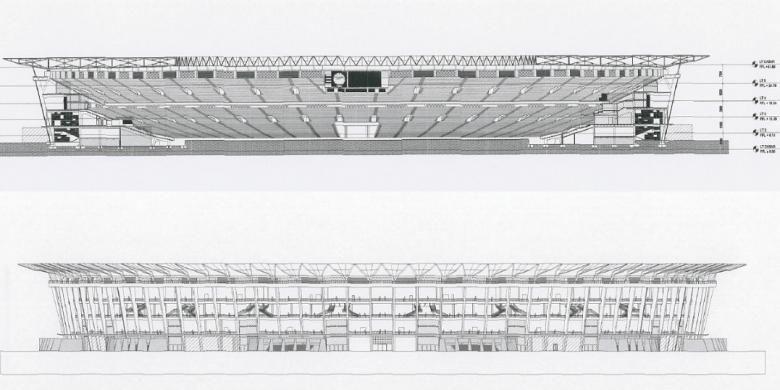 Potongan ramp eksisting dan rencana pada Stadion Utama Gelora Bung Karno Senayan.