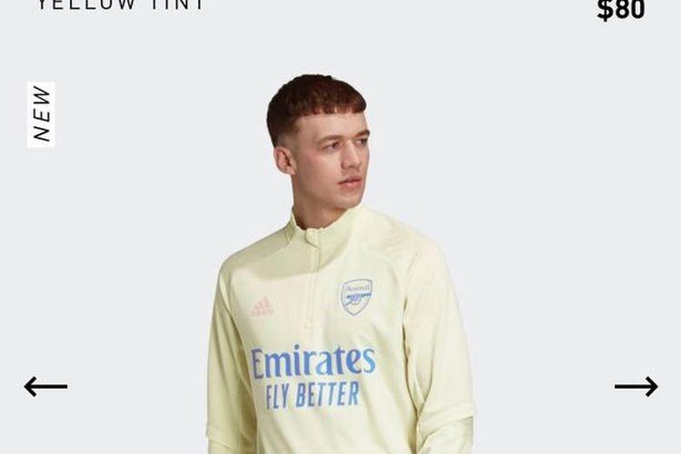 Desain pakaian latihan Arsenal 2020/2021.